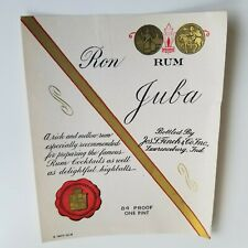Vintage Ron Juba Rum Label 1900-1930s Jos. L. Finch & Co Lawrence, Indiana