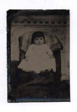 PHOTO ANCIENNE CDV Tintype Ferrotype Vers 1870 Enfant Bébé Fauteuil Robe Studio