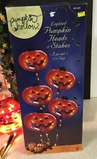 "Pumpkin Hollow Heads Stakes Eerie Light Yard Decor Halloween 33"" Tall"