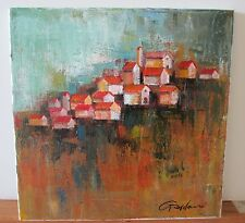 """Gardani """"Houses"""" original oil stretched canvas 12""""x12"""" small houses hand signed"""