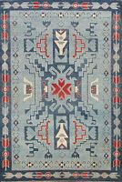 6'x9' Vegetable Dye Geometric Super Kazak Oriental Area Rug Hand-knotted Carpet