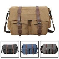 """Men's Leather Canvas Messenger Shoulder Bag 14"""" Laptop Crossbody Sling Bags Tote"""