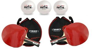 YINHE Table Tennis Ping Pong Bat 2 Player Paddle Set- 2 bats + 3 balls + 2 cover