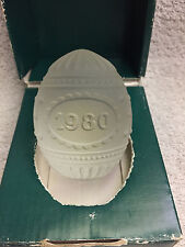Vintage 1980 Goebel Heavy Crystal Frosted Glass Easter Egg Paperweight With Box
