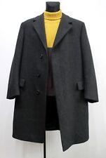 Men's Vintage KLEIDUNG UK Loden Nero Pura Lana Soprabito Cappotto Taglia L 50