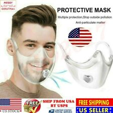 Clear Face Mask Durable Cover Transparent Face Shield Reusable +Breathing Valve