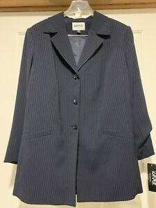 NEW Kasper Ladies 2 Piece Navy Pinstripe Suit Size 18W