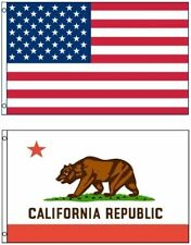 NEW 3'x5' California State Flag & AMERICAN Flag Polyester