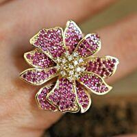 Ruby Flower Ring 925 Sterling Silver Handmade Turkish Vintage Size 6-12