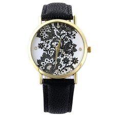 Womens Elegant Fashion Hot Faux Leather Round Lace Printed Wrist Watch Dress