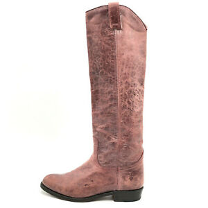 Frye Dorado Red Wine Distressed Leather Tall Equestrian Riding Boots Women's 7 M