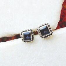 Iolith blau modern eckig elegant Design Ohrringe Ohrstecker, 925 Sterling Silber