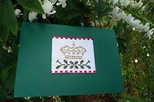 Glückwunschkarte für Goldene Hochzeit, Kreuzstich, Krone des Lebens