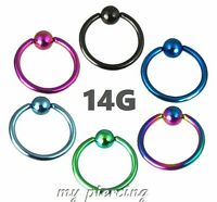 "2pc.14G~5/16""- 1/2"" Anodized 316L Captive Bead Ring Ears Cartilage Labret Septum"
