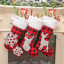 3pcs Christmas Buffalo Plaid Plush Stockings Fireplace Tree Ornaments Gift Bags