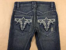 ANTIK Denim Womens Flare Leg Button Fly Distressed Jeans Tag Sz 26 Actual 28x34