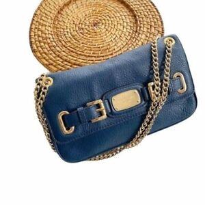MICHAEL Michael Kors Fulton Chain Strap Shoulder Bag Navy Gold Pebbled Leather
