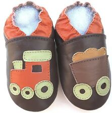 soft sole leather baby  first walking shoes train brown 12-18 m Minishoezoo