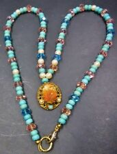 Vintage Small Cameo, with Vintage Crystals & Vintage Turquoise Stone Necklace