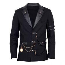 Gothic SteamPunk  Mens Jacket WW2 Vintage Black Military Blazer Army RP$99 Vegan