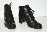 MONDERER  Bottines Boots à Lacets Cuir Noir T 37 TBE