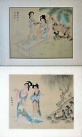 Asian Watercolor on Silk Art, Oriental Painting on Silk, Old Chinese Beauties