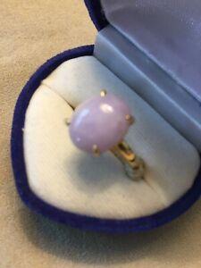 18k gold Burmese lavender jade ring