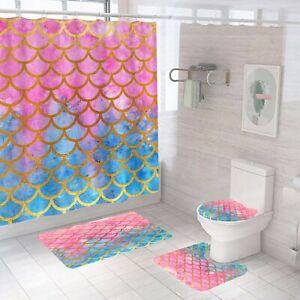 Bathroom Rug Set Shower Curtain Thick Non-Slip Soft Toilet Lid Cover Bath Mat