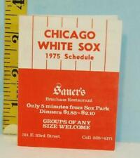 1975 Chicago White Sox Baseball Schedule Sauers Brauhaus Restaurant Eastside