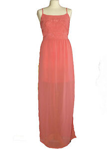 NEW Ex New Look Ladies Coral Pink MAXI Dress RRP £25 Size 8 10 12 14 16 18