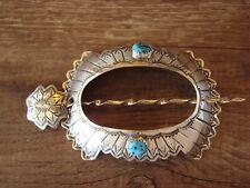Stick Barrette - Yazzie Navajo Hand Stamped Silver Turquoise