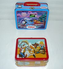 LOT SET OF 2 THOMAS TRAIN / LOONEY TUNES CHARACTER LUNCH BOX TINS