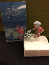 """Avon Vintage """"We Wish You A Merry Christmas� Musical Porcelain Figure, Wind Up,"""
