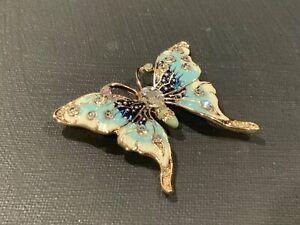 Vintage Style Butterfly Flower Brooch Pin Pendant Purple Austrian Crystal