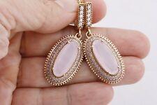 Turkish Jewelry Long Oval Pink Rose Quartz Topaz 925 Sterling Silver Earrings