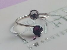 Silver Plated Toe Ring made with Amethyst-Clear Swarovski Crystal Elements