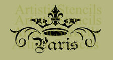 STENCIL Vintage French Crown Paris Scroll  12x6.5  FREE US SHIPPING