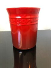 "Le Creuset 6"" Cerise Cherry Red Stoneware - Crock - Utensil Holder - Jar - Pot"