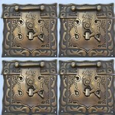 "4 box Latch catch solid brass furniture antiques doors kitchen old style 3"" B"