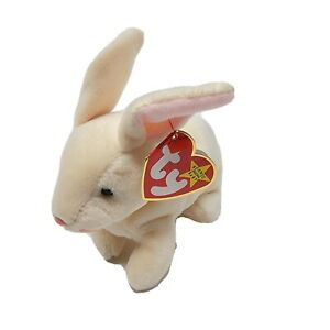 """Ty Beanie Babies """"Nibbler"""" Bunny Rabbit Plush 6"""" Beige With Tag 1999 Retired"""