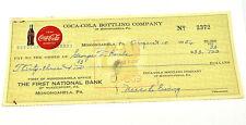 COCA-COLA COKE chèque vérifié USA 1956 Bottling COMPAGNIE of Monongahela
