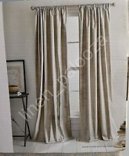 DKNY Tan Silver Metallic MINERAL Window Curtain Panels 50x96 PAIR 100% Cotton