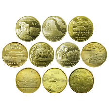 China lot 10 coins set, 5 Yuan, 2002-2006, UNC>World cultural heritage COMM.