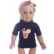Black fruit juice LOGO  T shirt  for 18inch American girl doll n365