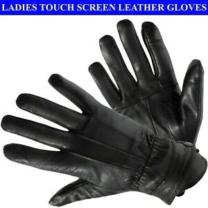 Womens Touch Screen Real Leather Gloves Ladies Winter Warm Fleece Lined Glove