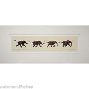 Running Baby Elephants Print of a Jonathan Sanders Painting (Unframed) Ltd Ed