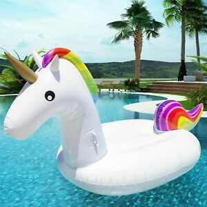 Inflatable Ride On Unicorn Lounger Kids Swimming Pool Beach Float Toy Raft Lilo