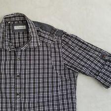 7 Diamonds Mens Luxury Plaid Shirt Western Roll Sleeve Cuff Collar Medium GIFT!