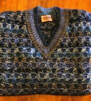 Missoni Men's Wool MOHAIR Knit Pull Over Sweater BLACK - GOLD Size XL