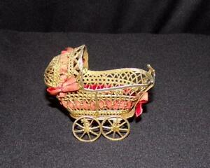 ORIG VICTORIAN GOLD METAL MINIATURE DOLL HOUSE BABY WICKER TYPE CARRIAGE